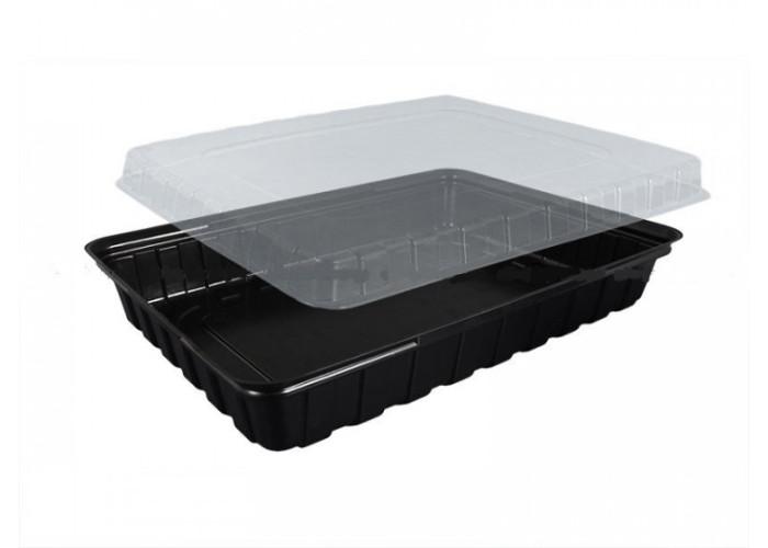 Одноразовая упаковка для суши и роллов ПС-61 (дно черное), 180 шт/уп