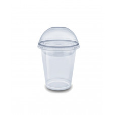 Одноразовый стакан с купольной крышкой с отверстием ПЭТ420