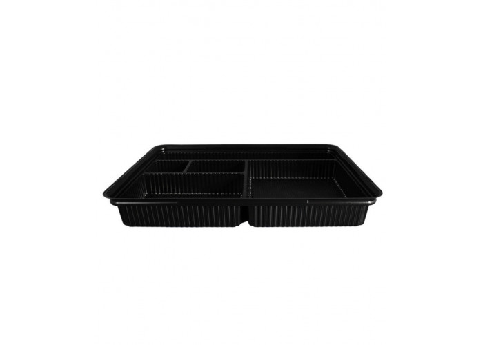 Упаковка для суши и роллов ПС-610 (дно черное с делениями), 180 шт/уп