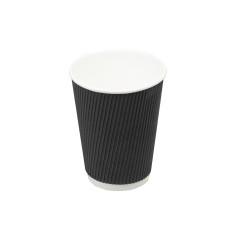 Бумажный одноразовый стакан гофро Ripple черный 185 мл 25 шт/уп