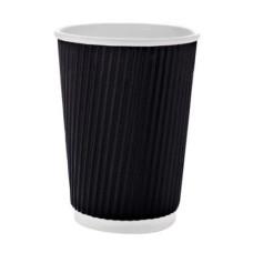 Бумажный одноразовый стакан гофро Ripple черный 300 мл 20 шт/уп