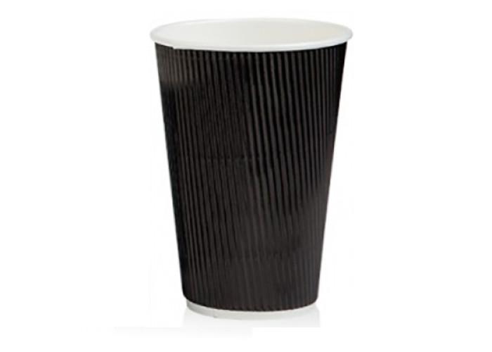 Бумажный одноразовый стакан гофро Ripple черный 400 мл 25 шт/уп