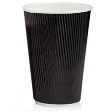 Бумажный одноразовый стакан гофро Ripple черный 500 мл 20 шт/уп