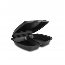 Одноразовая упаковка ланч-бокс HP-2 черный (240х210х70), 125 шт/уп